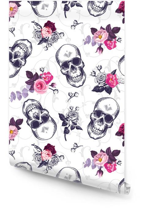Wzór z ludzkich czaszek i pół kolorowe wiązanki kwiatów w stylu drzeworyt i barokowy ornament na tle. rocznika tło. ilustracji wektorowych na tapetę, druk tekstylny, plakat. Tapeta w rolce - Rośliny i kwiaty