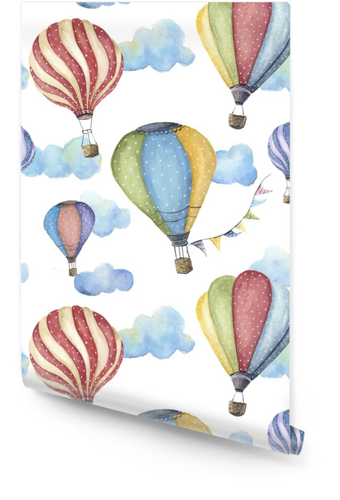 Watercolor pattern with cartoon hot air balloon. Transport ornament with flag garlands and clouds isolated on white background. Wallpaper roll - Graphic Resources