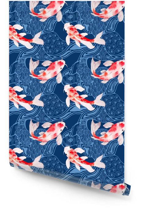 Modèle sans couture aquarelle koi poisson avec des vagues sur la toile de fond Rouleau de papier peint - Paysages