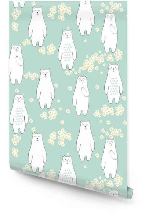 Patrón transparente de vector con oso y flores Rollo de papel pintado - Animales