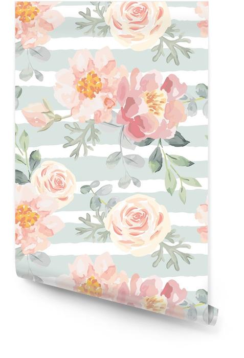 Lichtroze rozen en pioenrozen met grijze bladeren op de gestreepte achtergrond. vector naadloze patroon. romantische tuin bloemen illustratie. vervaagde kleuren. Behangrol - Bloemen en Planten