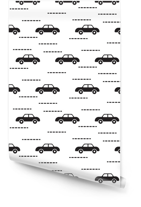 Car cute baby vector scandinavian seamless pattern. Kid fabric and apparel design. Light blue van vehicles on white. Simple kid pattern. Wallpaper roll - Transport