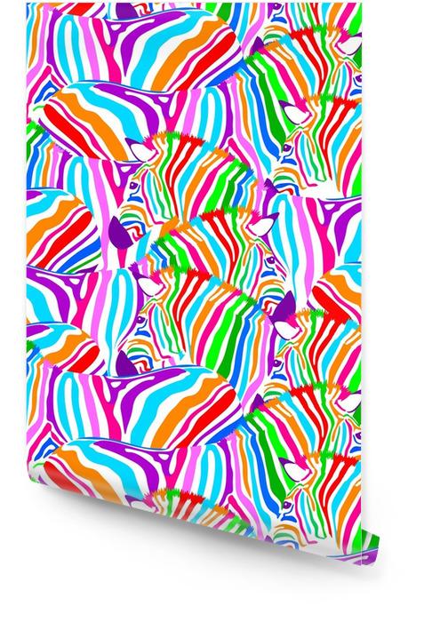Kleurrijke zebra naadloze patroon. wilde trendy trendy stoffentextuur, illustratie. Behangrol - Dieren