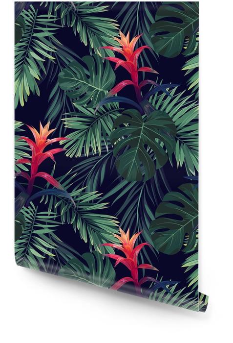 Patron floral inconsútil dibujado a mano con flores de guzmania, monstera y hojas de palma real. fondo exótico del vector hawaiano. Rollo de papel pintado - Plantas y flores