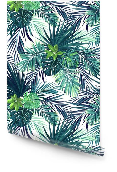 Naadloze hand getekend botanische exotische vector patroon met groene palmbladeren. Behangrol - Grafische Bronnen