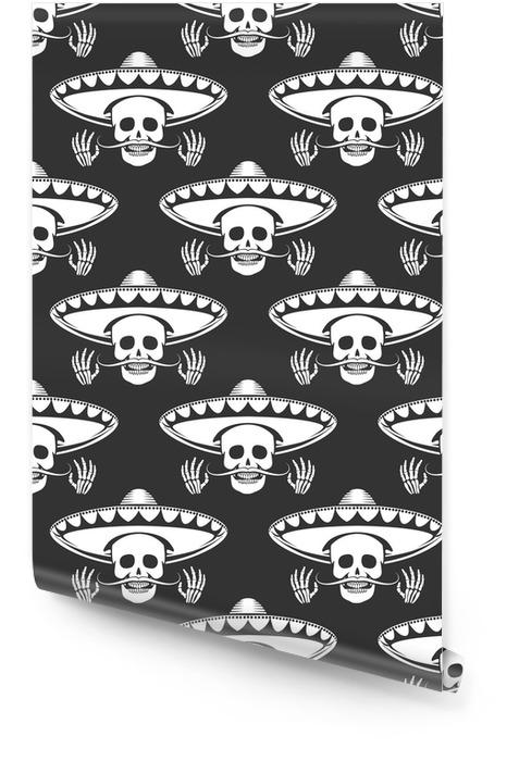 Szwu z wąsem ludzkiej czaszki w sombrero i krzyż rękami. ilustracji wektorowych Tapeta w rolce - Hobby i rozrywka