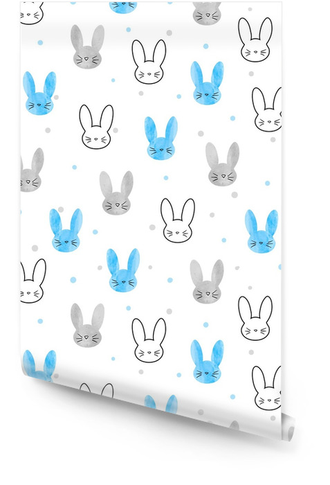 Seamless bunny pattern. Vector background with blue and grey rabbits. Wallpaper roll - Animals
