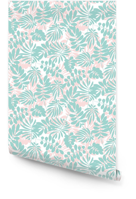 pale color tropical leaves seamless pattern in simple flat style. surface design vector illustration for print, wrapping paper, fabric, background. Wallpaper roll - Plants and Flowers