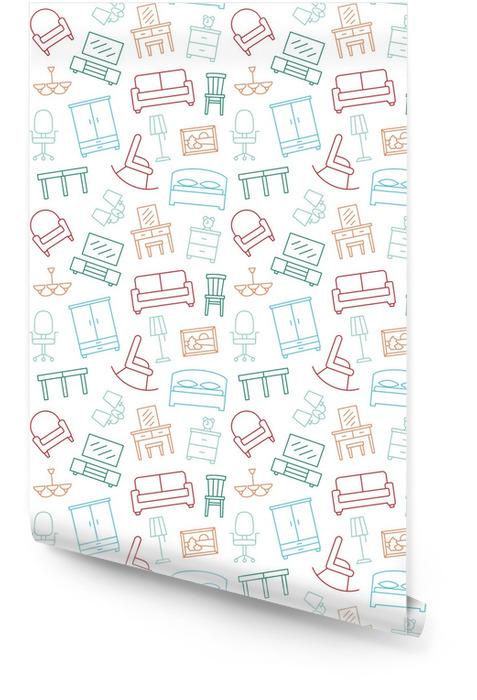 Muebles de patrones de color sin fisuras. fondo, ilustración, vector, textura sin fin. Rollo de papel pintado - Recursos gráficos