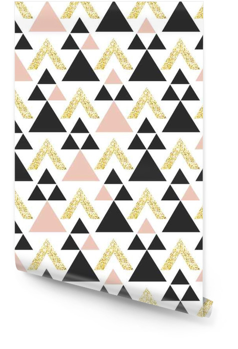 Gold geometric triangle background. Abstract seamless pattern with triangles in gold and dark gray. Wallpaper roll - Graphic Resources