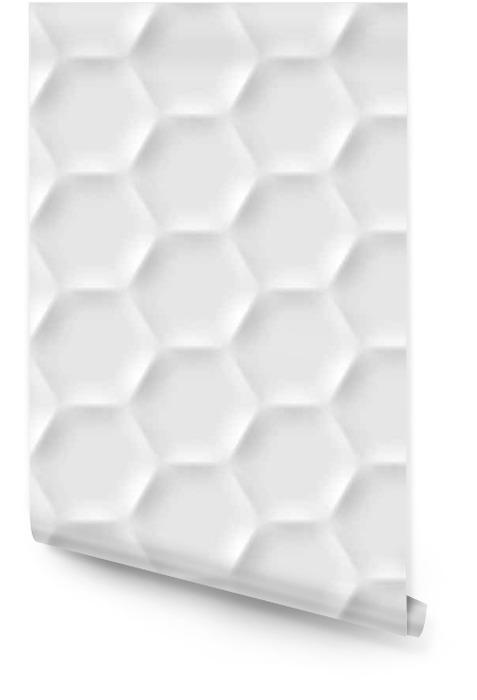 Jednolite wzór z komórek sześciokątnych wykonanych z cieni i świateł w stylu origami. Biały powtarzalny tła. Tapeta w rolce - Zasoby graficzne