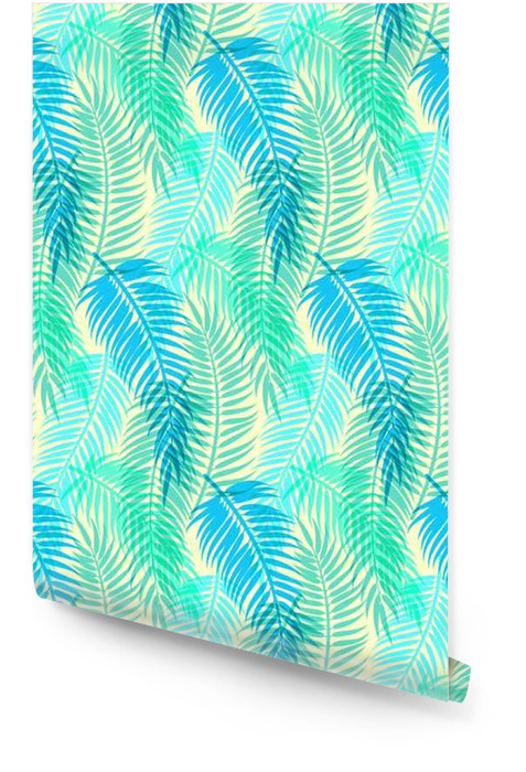 Exotic tropical palm leaves. Seamless abstract vector pattern Wallpaper roll - Graphic Resources