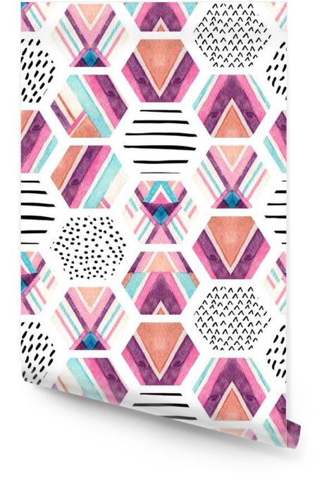 Acquerello esagono seamless con elementi ornamentali geometrici Rotolo di carta da parati - Risorse Grafiche