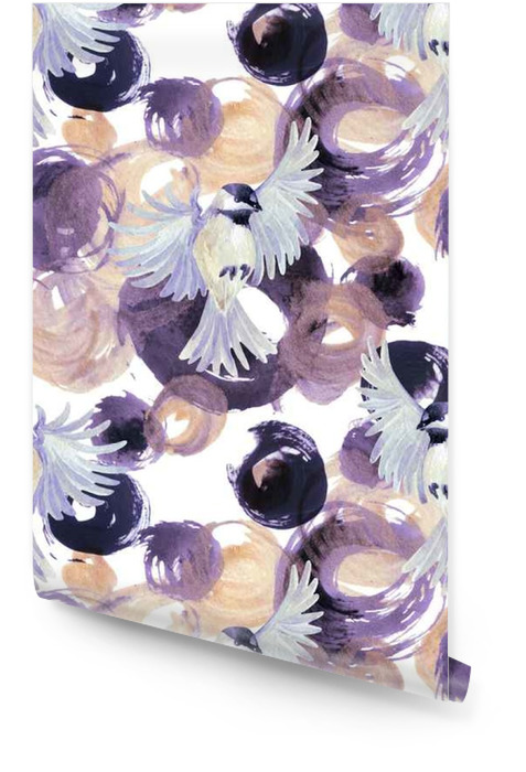 Abstract watercolor golden and purple circles with birds Wallpaper roll - Animals