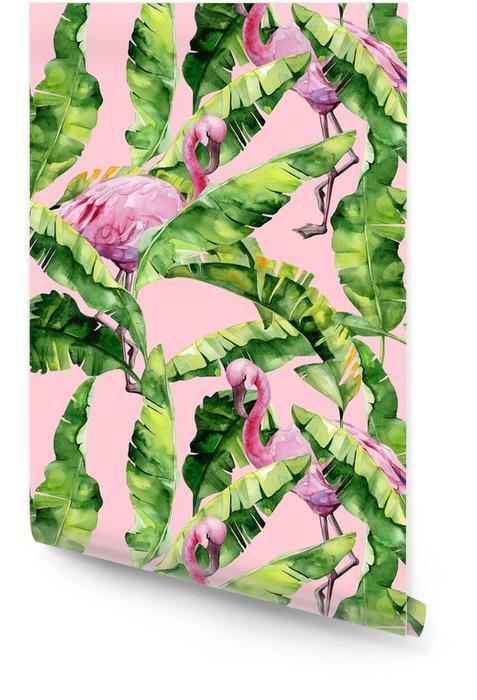 Tropiska löv, tät djungel. banan palm lämnar sömlös vattenfärg illustration av tropiska rosa flamingo fåglar. trendigt mönster med tropisk sommartid. exotisk hawaii konst bakgrund. Rulltapet - Djur