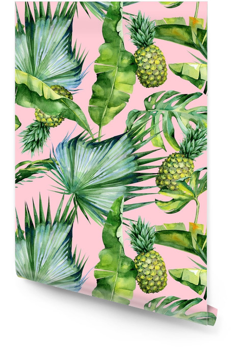 Naadloze aquarel illustratie van tropische bladeren en ananas, dichte jungle. patroon met tropic zomer motief kan worden gebruikt als achtergrondstructuur, inpakpapier, textiel, behang ontwerp. Behangrol - Bloemen en Planten