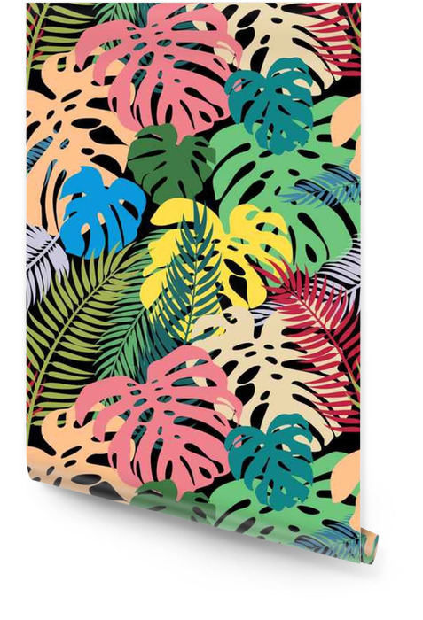 Wektor bez szwu deseń z kolorowych liści monstera i dłoni. Egzotycznych powtórz ornament Tapeta w rolce - Rośliny i kwiaty