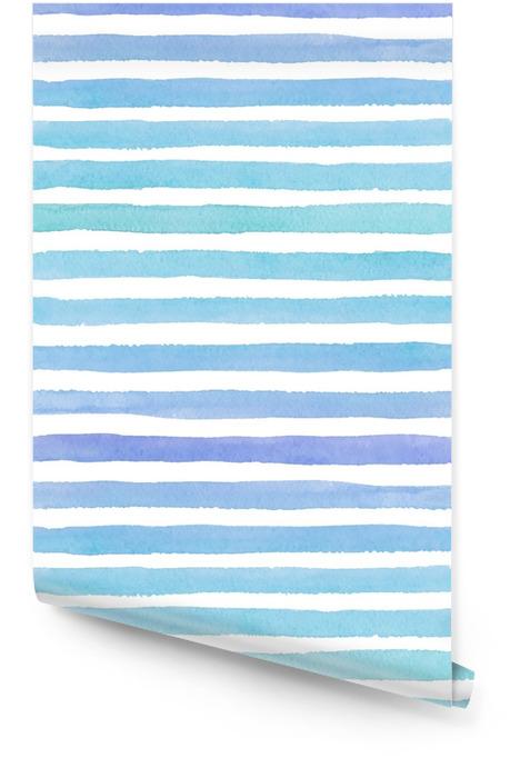 Modèle aquarelle transparente dessiné main avec des traits bleus colorés sur le fond blanc Rouleau de papier peint - Ressources graphiques