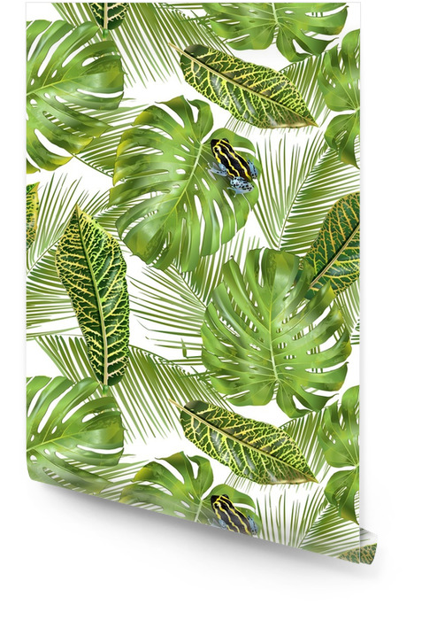 Tropické listy vzor Tapeta v rolích - Rostliny a květiny