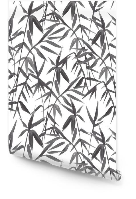 Bambusowy bezszwowy wzór na zielonym tle w japońskim stylu, lekcy świezi liście, czarny i biały realistyczny projekt, wektorowa ilustracja Tapeta w rolce - Rośliny i kwiaty