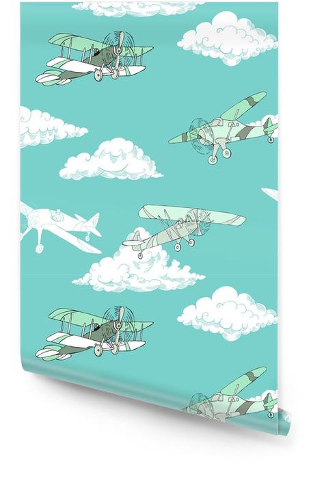 Seaml colores aviones-08 Rollo de papel pintado - Transportes