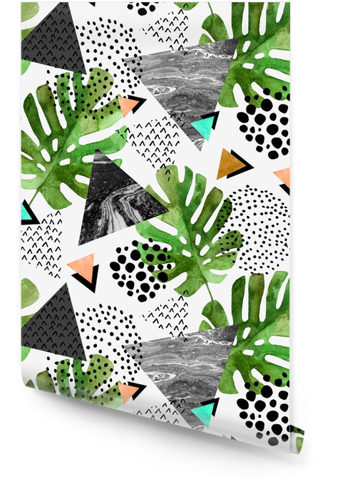 Akvarel tropické listy a texturou trojúhelníky pozadí Tapeta v rolích - Grafika