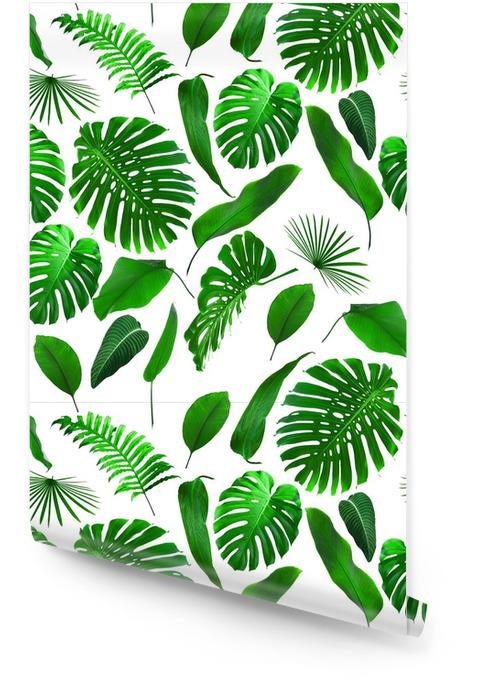 Naadloze tropische jungle bladeren patroon Behangrol - Bloemen en Planten
