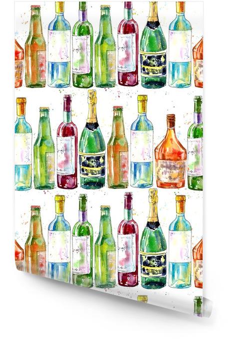 Sin patrón de champán, coñac, vino, cerveza y vidrio. pintura de una bebida de alcohol. acuarela a mano ilustración.blanco fondo. Rollo de papel pintado - Bebida