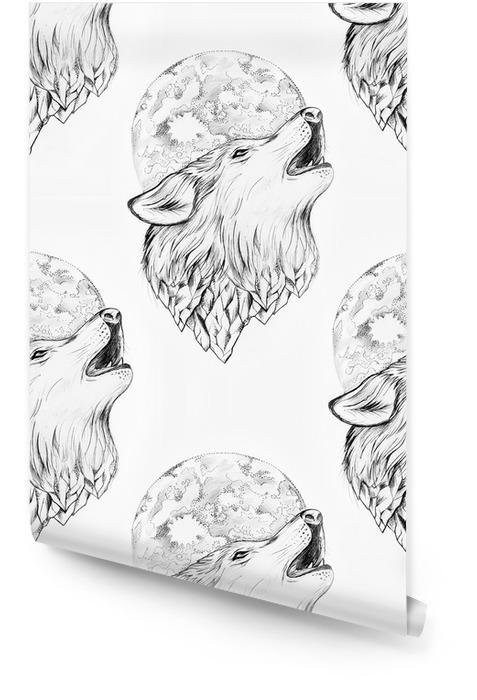 Dessin sans soudure d'un loup hurlant à la lune sur un fond blanc. Rouleau de papier peint - Passe-temps et loisirs