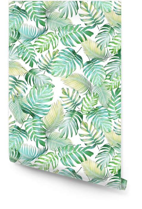 Tropical leaves seamless pattern of Monstera philodendron and palm leaves in light green-yellow color tone, tropical background. Wallpaper roll - Graphic Resources