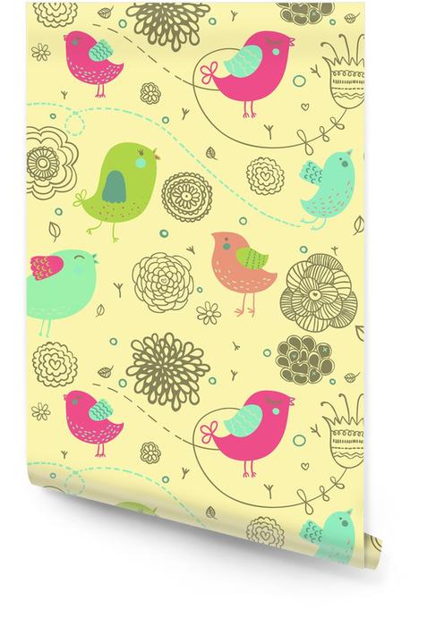 Ładne tło wiosna - ptaki kreskówek w kwiaty Tapeta w rolce - Style
