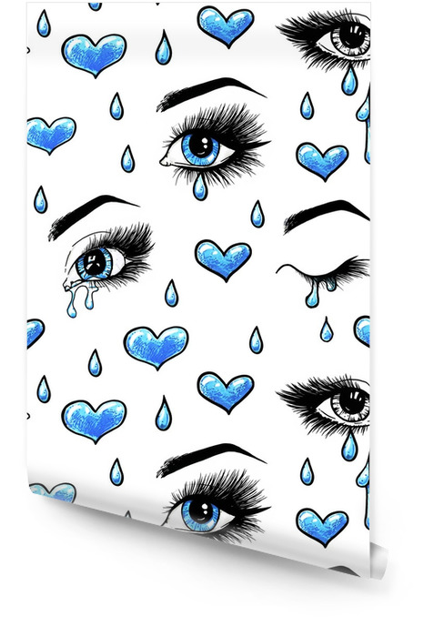 Hermosos ojos azules femeninos abiertos con pestañas largas está aislado en un fondo blanco. Ilustración de plantilla de maquillaje. trabajo de boceto a color. lágrimas en los ojos. amor en un solo sentido. patrones sin fisuras para el diseño Rollo de papel pintado - Sensaciones y emociones