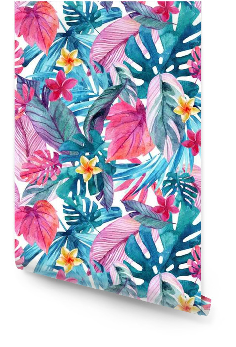 Watercolor exotic leaves and flowers background. Wallpaper roll - Plants and Flowers