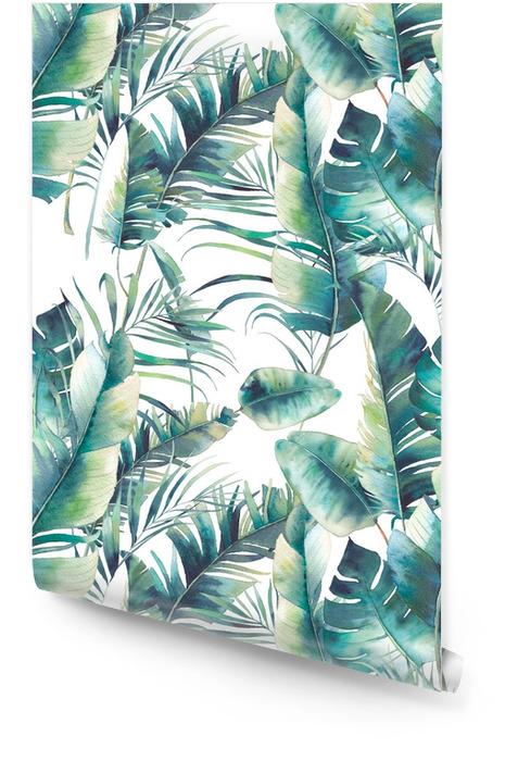 Zomer palmboom en bananenbladeren naadloze patroon. waterverftextuur met groene takken op witte achtergrond. hand getekend tropisch behang ontwerp Behangrol - Bloemen en Planten