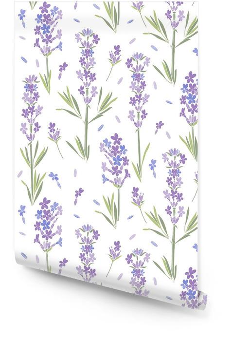 Modèle vectorielle continue avec des fleurs de lavande. illustration florale sur fond blanc. Rouleau de papier peint - Plantes et fleurs