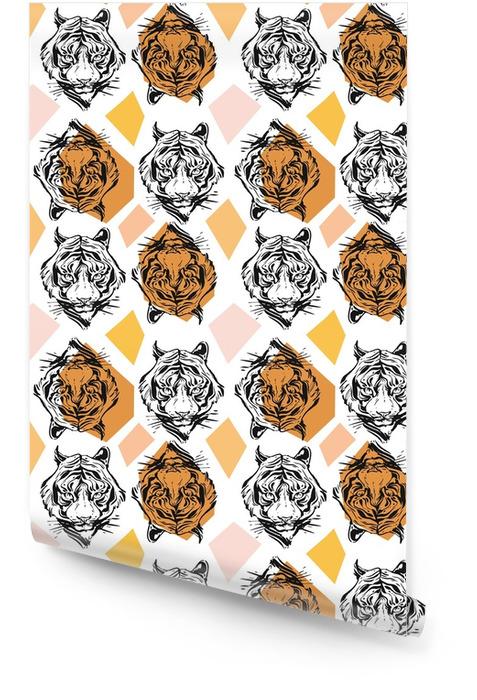 Hand getrokken vector abstracte creatieve naadloze patroon met tijger gezicht illustratie en geometrische elementen in oranje kleuren geïsoleerd op witte achtergrond. het leven leven tropische tribale concept. Behangrol - Grafische Bronnen