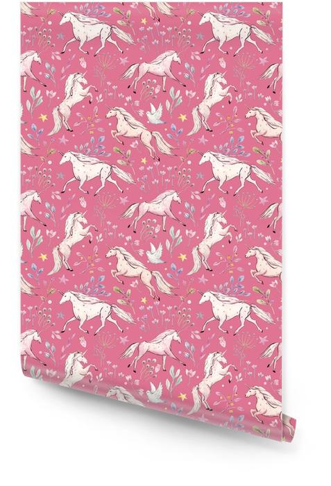Watercolor unicorn pattern Wallpaper roll - Animals