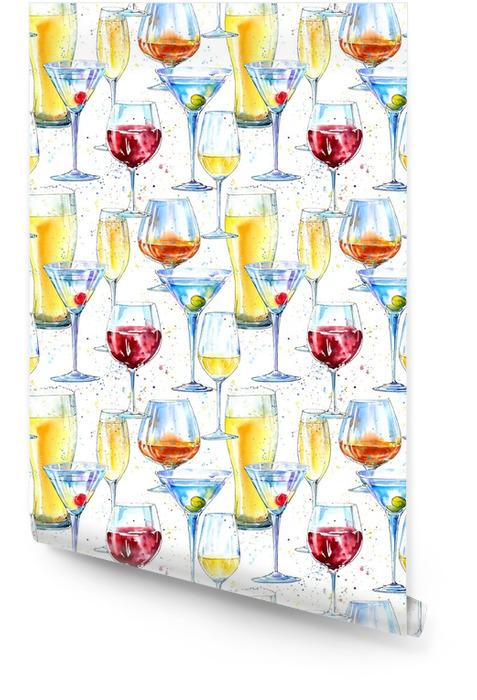 Sin patrón de champán, coñac, vino, martini, cerveza y vidrio. pintura de una bebida del alcohol y un fondo dibujado a mano de .watercolor del chapoteo. frontera de la bebida Fondo blanco. Rollo de papel pintado - Bebida