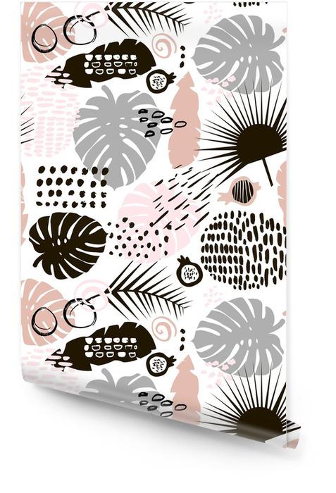 Palmtak trendy naadloze patroon met hand getrokken elementen. monstera blad achtergrond. geweldig voor stof, textiel vectorillustratie Behangrol - Grafische Bronnen