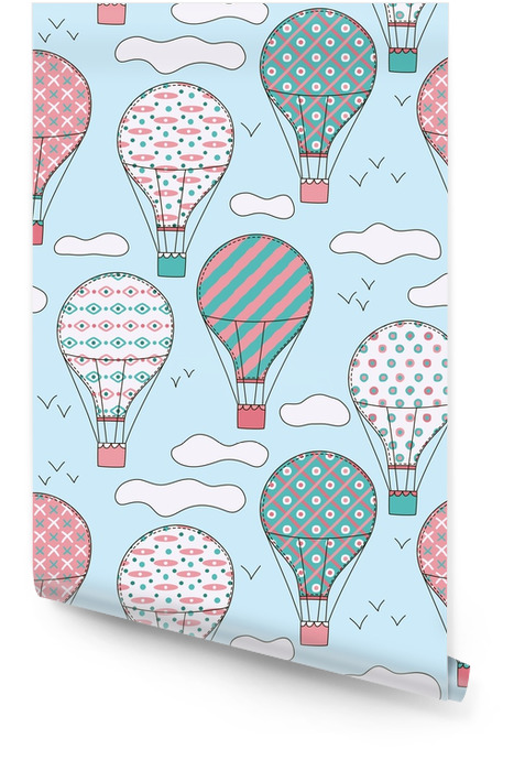 Hand drawn vector vintage seamless pattern with cute little air balloons in sky with clouds. Adventure dream background. Childish illustration. Kid wallpaper. Wallpaper roll - Graphic Resources
