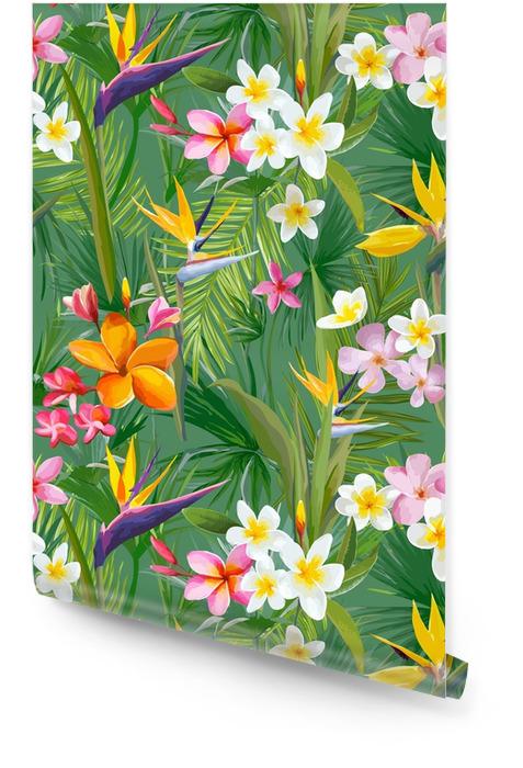 Tropische palmbladeren en bloemen, jungle bladeren naadloze vector bloemmotief achtergrond Behangrol - Bloemen en Planten