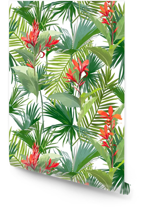 Tropical Palm Leaves and Flowers, Jungle Leaves Seamless Vector Floral Pattern Background Wallpaper roll - Plants and Flowers