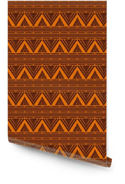Vector de patrón tribal transparente. ética marrón naranja marrón textura. Fondo de frontera para tela, papel pintado, papel de regalo y plantilla de tarjeta boho. Rollo de papel pintado - Recursos gráficos