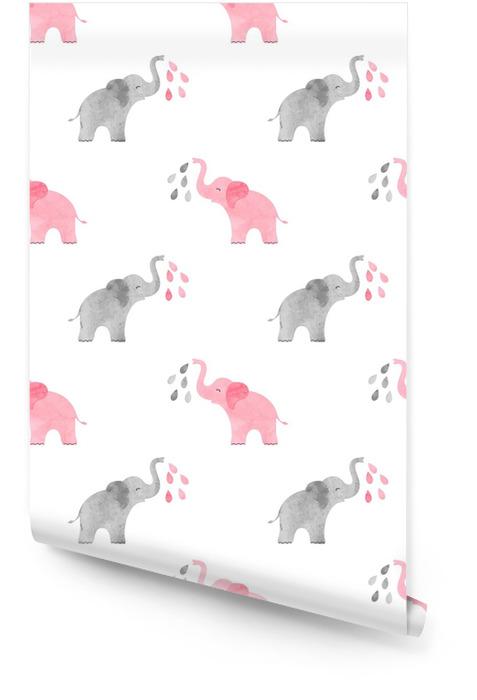 Modèle d'éléphants mignons aquarelle. vecteur fond transparent simple pour les enfants. Rouleau de papier peint - Animaux