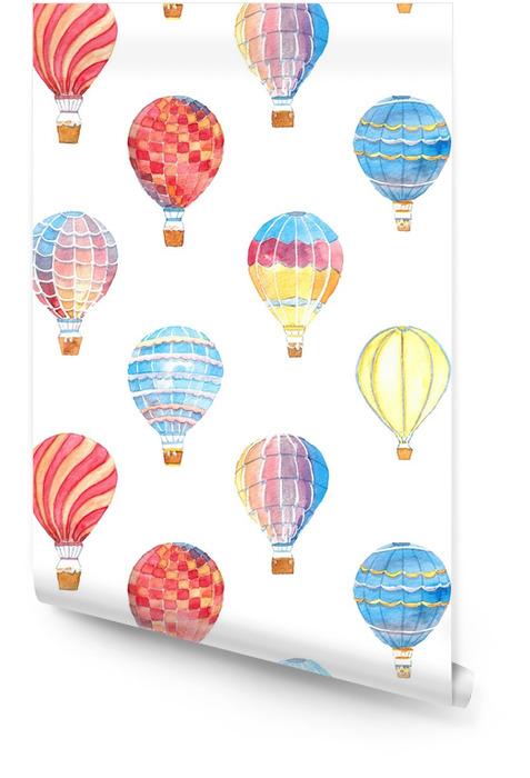 Akwarela ręcznie rysowane ilustracja tło wzór z zestaw kolorowych balonów na białym tle Tapeta w rolce - Transport