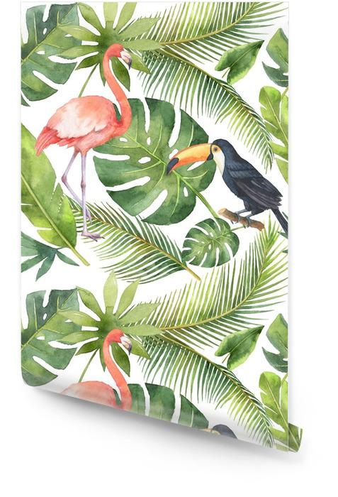Hindistan cevizi ve palmiye ağaçları beyaz arka plan üzerinde izole suluboya kesintisiz desen. Rulo Duvar Kağıdı - Çiçek ve bitkiler