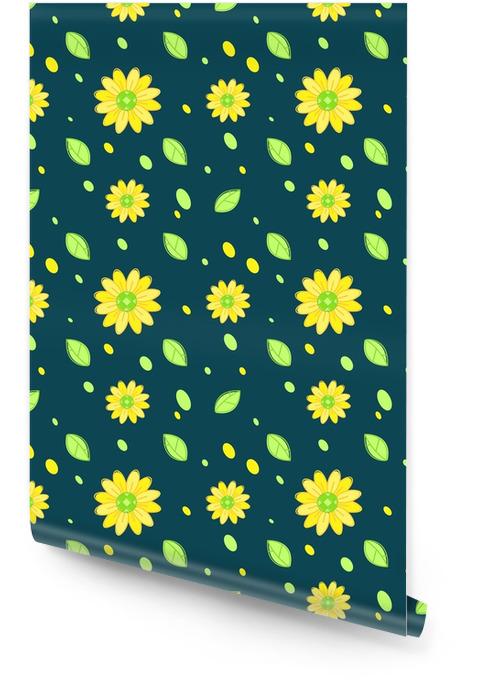 Słonecznikowy wzór ciemny tło Tapeta w rolce - Zasoby graficzne