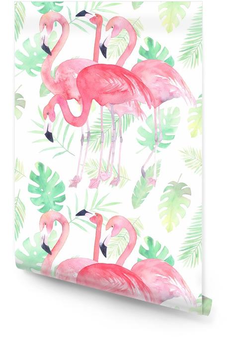Aquarel naadloze patroon met flamingo en tropische bladeren Behangrol - Grafische Bronnen