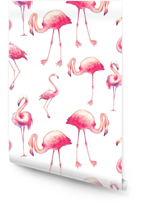 Watercolor flamingo seamless pattern. Hand painted texture with bright exotic birds on white background. Fashion wallpaper design with wild animals Wallpaper roll - Animals