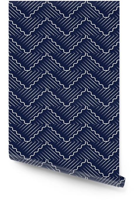 Bezszwowe niebieskie tło chińskie orientalne krzywej fali krzyża geometrii linii Tapeta w rolce - Zasoby graficzne